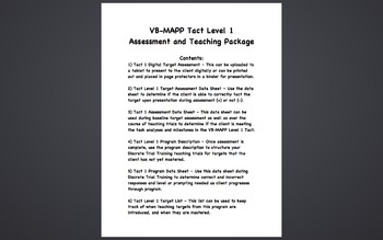 VB-MAPP Tact Level 1 Assessment and Teaching Package - Autism, ABA, DTT
