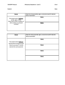 VB-Mapp Level 1 Mand Data Sheet