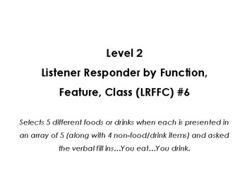 VB-MAPP (VBMAPP) Level 2 Listener Responder by Function, Feature, and Class