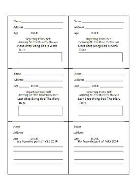 VBS Activity Booklet - Vocational Bible School
