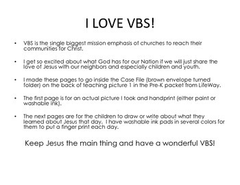VBS Preschool Case File