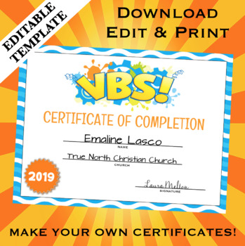 photograph about Vbs Certificate Printable known as VBS Holiday vacation Bible University Certification of Completion Editable Template