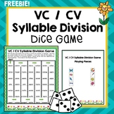 VC / CV Syllable Division Dice Game, Segmenting, Literacy, Phonics, Freebie