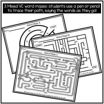 VC Word Mazes for Beginning and Struggling Readers