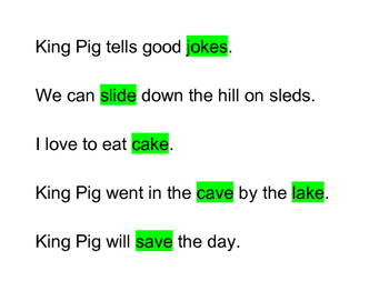 VC-e (Sneaky-E) Phrases and Angry Bird King Pig Word Cards