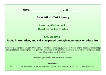 VCAL Foundation Literacy Learning Outcome 7
