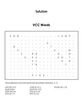 VCC Words Worksheet/ Word Search