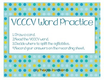 VCCCV Word Practice (Reading Street U4, W5)