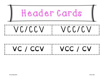 VCCCV Word Sort {Differentiated} + Seat work