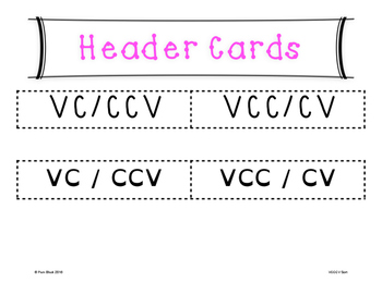 VCCCV Word Sort {Differentiated} + Seat work
