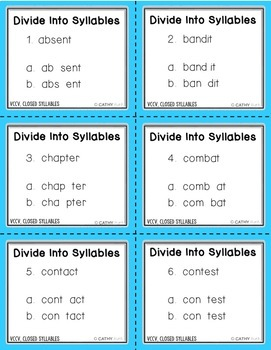 VCCV Different Middle Consonants Games, Activities, Segmenting, Word Work