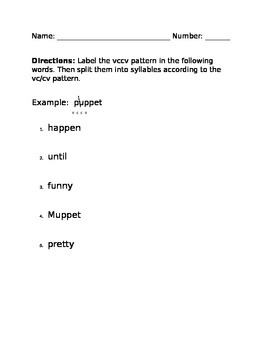 VCCV Syllable Splitting Practice Worksheet