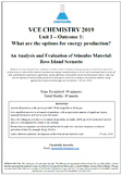 VCE Chemistry 2019 - Outcome 1: Analysis and Evaluation of
