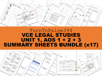 VCE Legal Studies Unit 1 BUNDLE: AOS 1 + AOS 2 + AOS 3