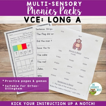 VCE Long A Orton-Gillingham Level 1 Multisensory Phonics Activities