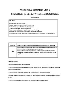 VCE PE Assessment - Sports Injury Prevention and Rehabilitation