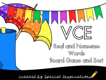 VCE Syllable Real or Nonsense Words Phonics Board Game and Sort