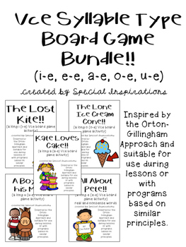VCE Syllable Type Board Game Bundle (Orton-Gillingham Inspired)