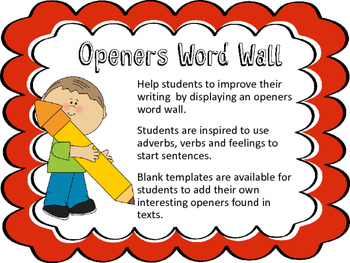 VCOP Openers Word Wall