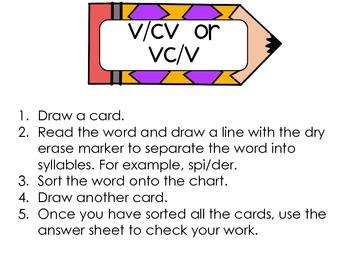 VCV Word Work Center
