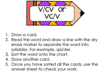 VCV Word Work Center