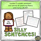 VCe (Magic E) Words Silly Sentences Fluency Worksheet and