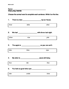 VCe Words: long a, long i, long o, long u: Four Worksheets