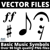 VECTOR FILES - Over 90 high quality Music Symbols PNG file