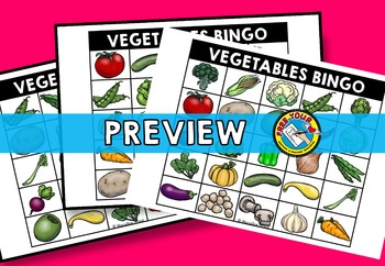 VEGETABLES VOCABULARY GAMES: VEGETABLES BINGO GAME: VEGETABLES ACTIVITY