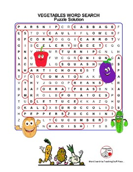 VEGETABLES Vocabulary ... Word Search & Coloring – Grades 1-2-3