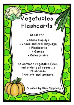 VEGETABLES  theme topic words WORD WALL vocabulary flash cards