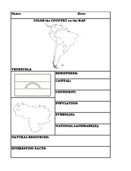 VENEZUELA COUNTRY RESEARCH WORKSHEET