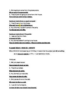 VENIR : introductory handout + the passé récent