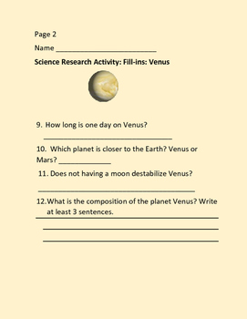 VENUS: SCIENCE: ASTRONOMY:  RESEARCH ACTIVITY, GRADES 3-7