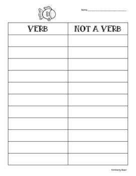 VERB...OR NOT Sorting Center and Recording Sheet