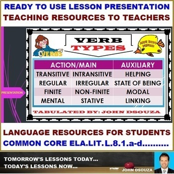 VERB TYPES READY TO USE LESSON PRESENTATION