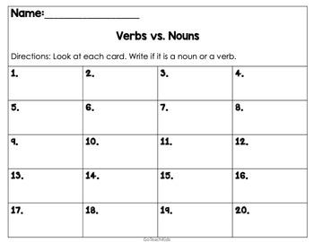 VERB vs. Noun Scoot- Fun Engaging Game