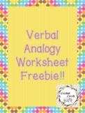 VERBAL ANALOGY WORKSHEETS FREEBIE