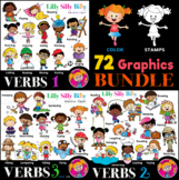 VERBS 1-2-3 Bundle - B/W & Color clipart {Lilly Silly Billy}