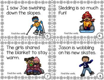 Winter Activities VERBS Task Cards