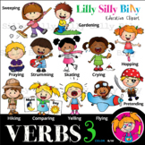 VERBS  3 - B/W & Color clipart {Lilly Silly Billy}