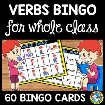 VERBS GAME: VERBS BINGO GAME: VERBS ACTIVITIES FOR WHOLE CLASS