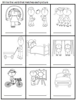 VERBS - GAME CARDS/WORKSHEETS