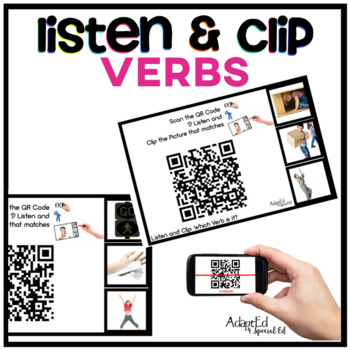 VERBS... Listen and Clip Verb Task Cards