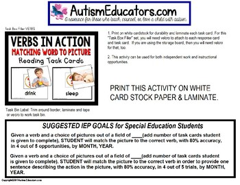 "VERBS Reading and Matching Task Cards for Autism and ELL ""Task Box Filler"""