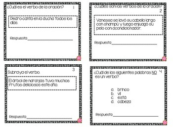 VERBS TASK CARDS IN SPANISH