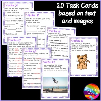 VERBS Task Cards and Anchor Chart: Teaching Parts of Speech