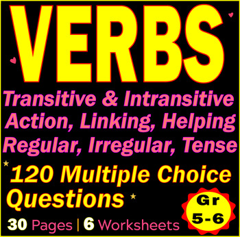 VERBS | Transitive & Intransitive | Linking | Irregular | 120 MCQs | Gr 5-6