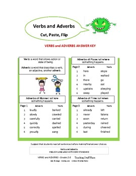 VERBS and ADVERBS ... Cut & Paste Worksheets ... Gr. 2-3