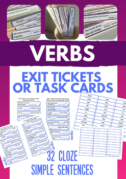 VERBS in simple sentences - Popsicle Stick Exit Ticket (or Task Cards)
